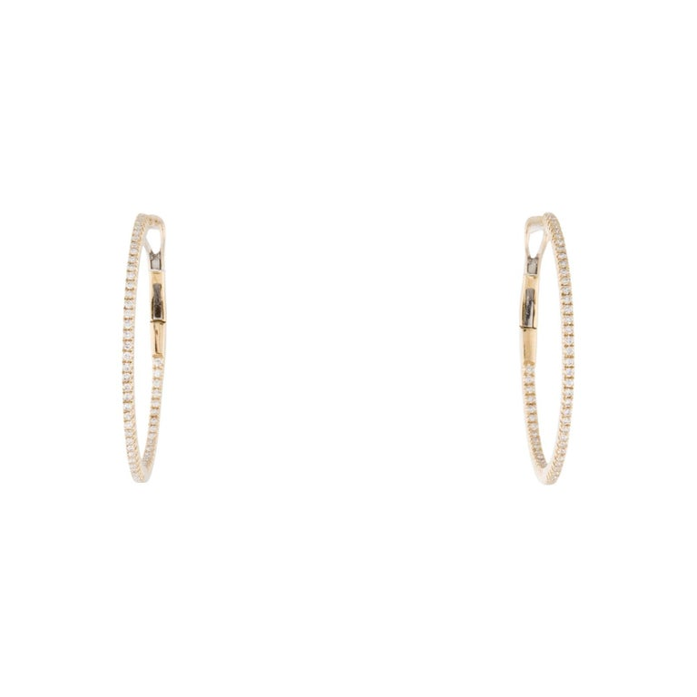 Contemporary 14 Karat Yellow Gold 0.30 Carat Diamond Skinny Hoop Earrings For Sale