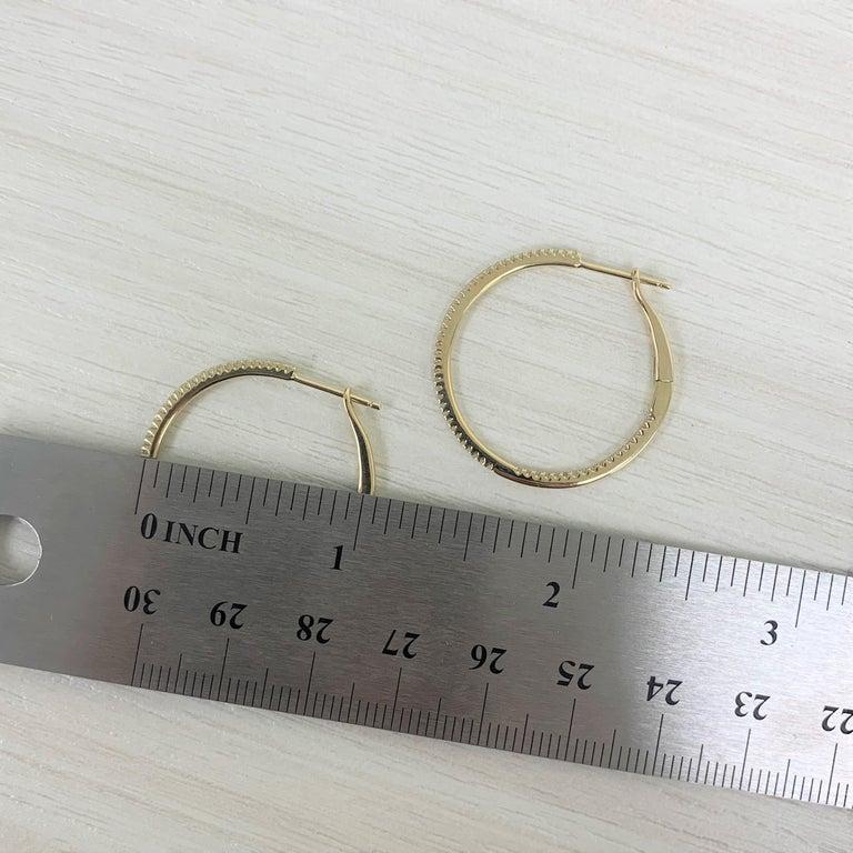 Round Cut 14 Karat Yellow Gold 0.30 Carat Diamond Skinny Hoop Earrings For Sale