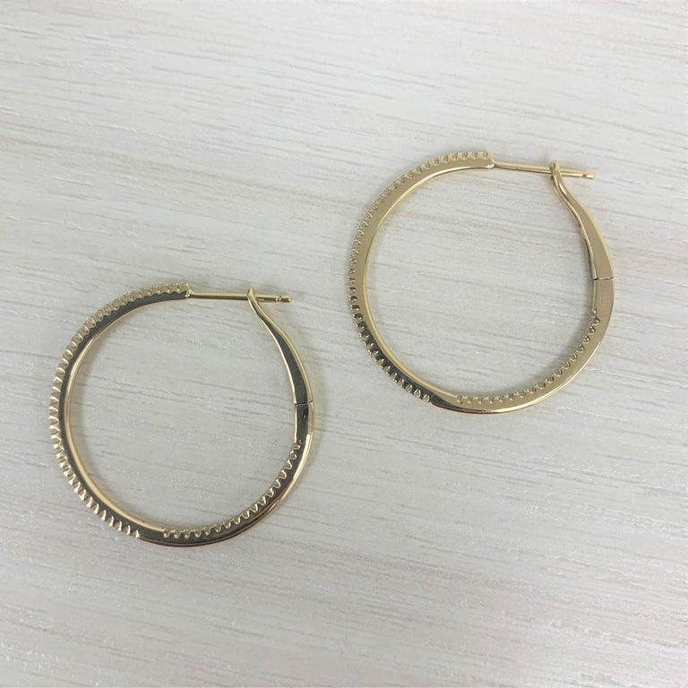 14 Karat Yellow Gold 0.30 Carat Diamond Skinny Hoop Earrings In New Condition For Sale In Great neck, NY