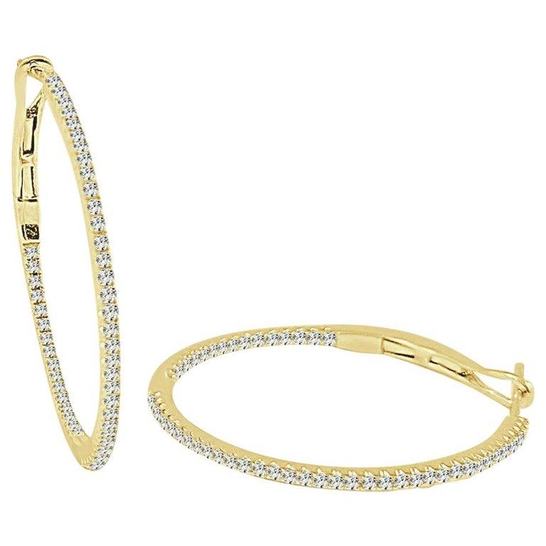 14 Karat Yellow Gold 0.30 Carat Diamond Skinny Hoop Earrings For Sale