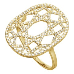 14 Karat Yellow Gold 0.38 Carat Round Diamond 1920s Inspired Plaque Ring