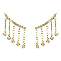 14 Karat Yellow Gold 0.38 Carat Round Diamond Drop Climbing Earrings