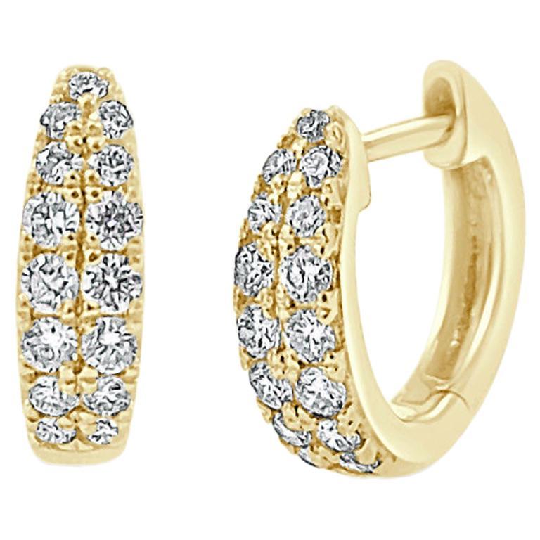 14 Karat Yellow Gold 0.39 Carat Diamond Double Row Huggie Earrings