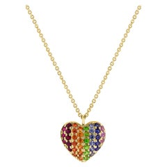 14 Karat Yellow Gold 0.49 Carat Rainbow Sapphire Heart Necklace