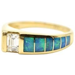 """14 Karat Yellow Gold, 0.50 Carat Emerald Cut and Opal Inlay """"Kabana"""" Band"""