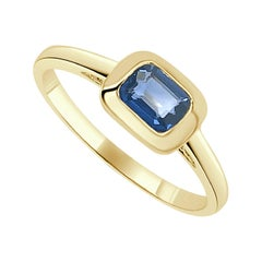 14 Karat Yellow Gold 0.65 Ct. Blue Sapphire Solitaire Ring