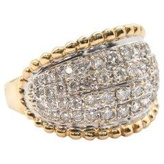 14 Karat Yellow Gold 0.68 Carat Diamond Wide Pave Ring