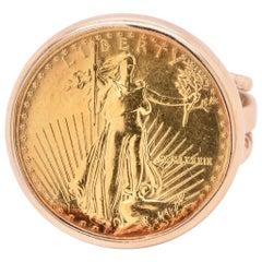 14 Karat Yellow Gold 1/10th Liberty Eagle Coin Ring