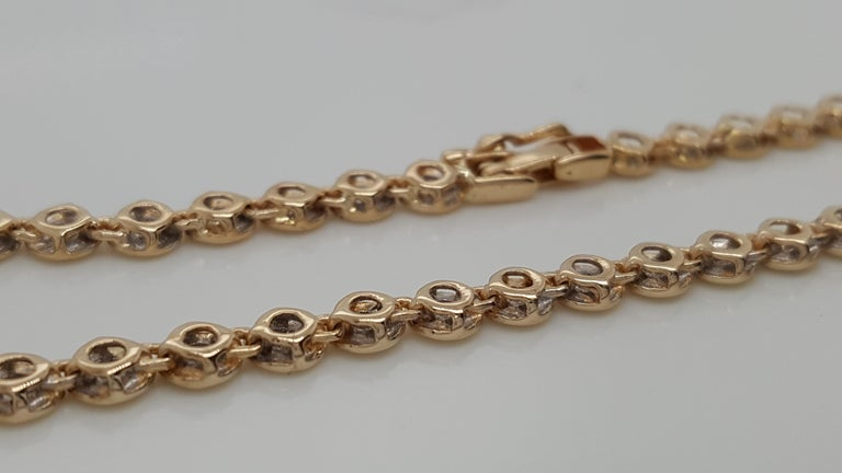 Women's or Men's 14 Karat Yellow Gold 1 Carat Round Diamond Bezel Set Tennis Bracelet For Sale