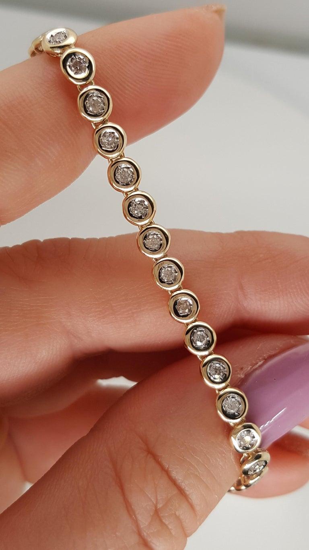 14 Karat Yellow Gold 1 Carat Round Diamond Bezel Set Tennis Bracelet For Sale 1