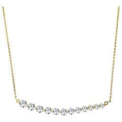 14 Karat Yellow Gold 1.06 Carat Diamond Bar Necklace