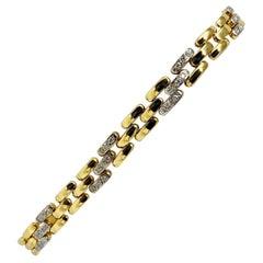 14 Karat Yellow Gold 1.08 Carat Diamond Panther Link Bracelet