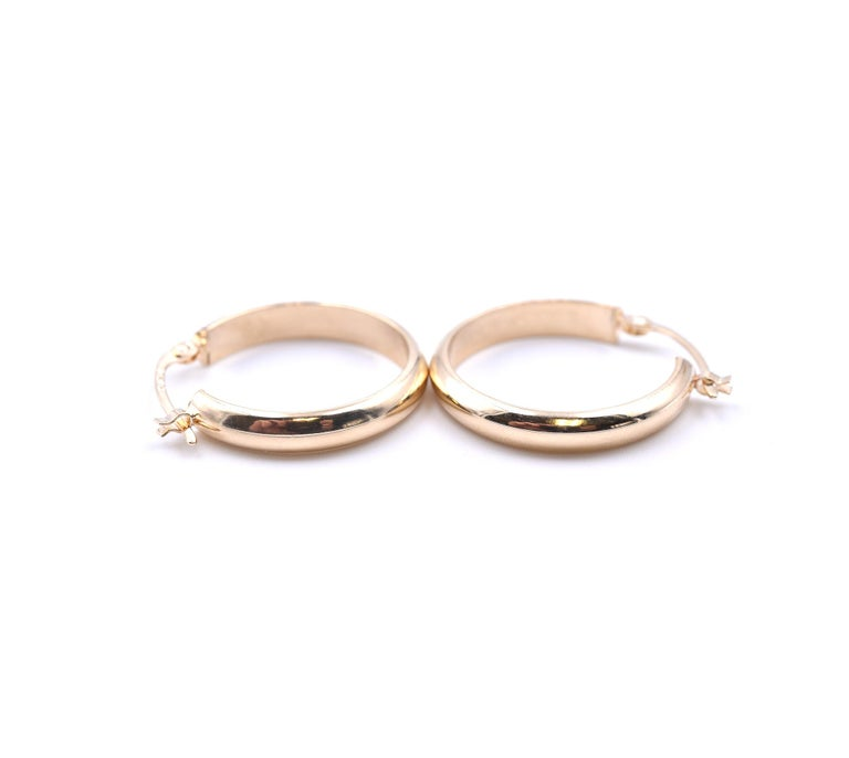 14 Karat Yellow Gold Hoop Earrings In Excellent Condition In Scottsdale, AZ