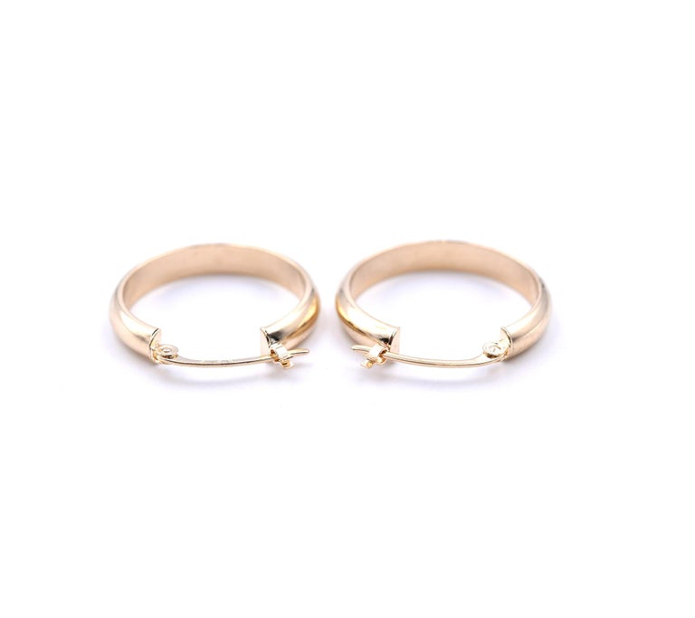 Women's or Men's 14 Karat Yellow Gold Hoop Earrings