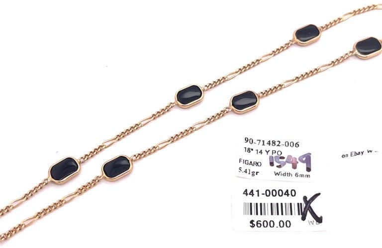 14 Karat Yellow Gold Black Onyx Figaro Necklace For Sale 4
