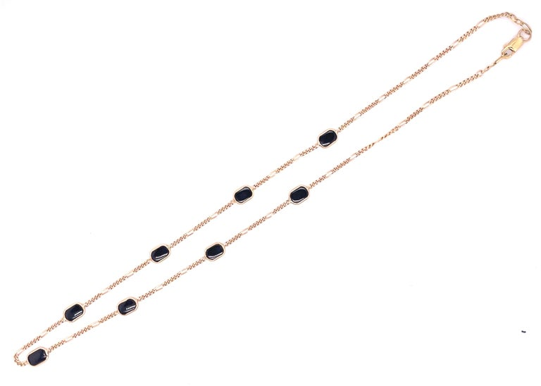 Contemporary 14 Karat Yellow Gold Black Onyx Figaro Necklace For Sale