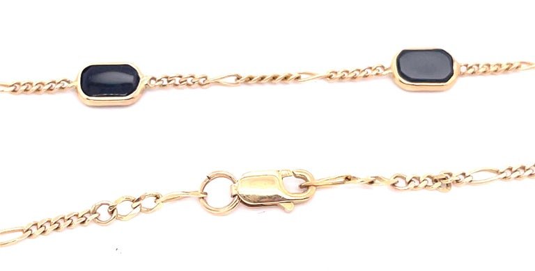 Octagon Cut 14 Karat Yellow Gold Black Onyx Figaro Necklace For Sale