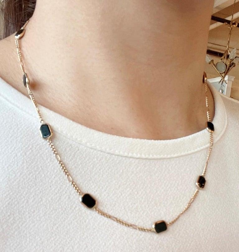Women's or Men's 14 Karat Yellow Gold Black Onyx Figaro Necklace For Sale
