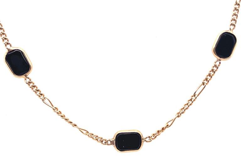 14 Karat Yellow Gold Black Onyx Figaro Necklace For Sale 1