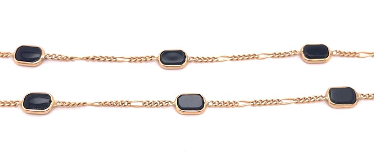 14 Karat Yellow Gold Black Onyx Figaro Necklace For Sale 2