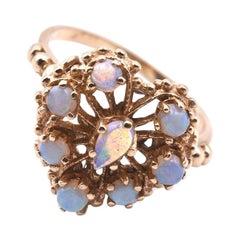 14 Karat Yellow Gold 1960s Vintage Opal Heart Shaped Ring