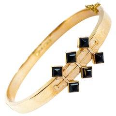 14 Karat Yellow Gold 1963 Pekka Anttila Kruunu-Koru Oy Onyx Stones Bracelet