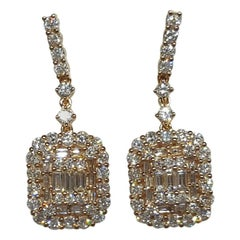 14 Karat Yellow Gold 2.06 Carat Round and Baguette Diamond Drop Earrings