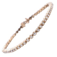 14 Karat Yellow Gold 2.24 Carat Diamond Tennis Bracelet