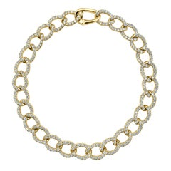 14 Karat Yellow Gold 2.65 Carat Diamond Link Bracelet