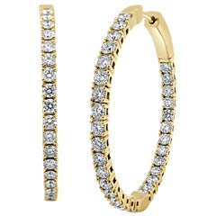 14 Karat Yellow Gold 2.77 Carat Diamond Flexible Hoop Earrings