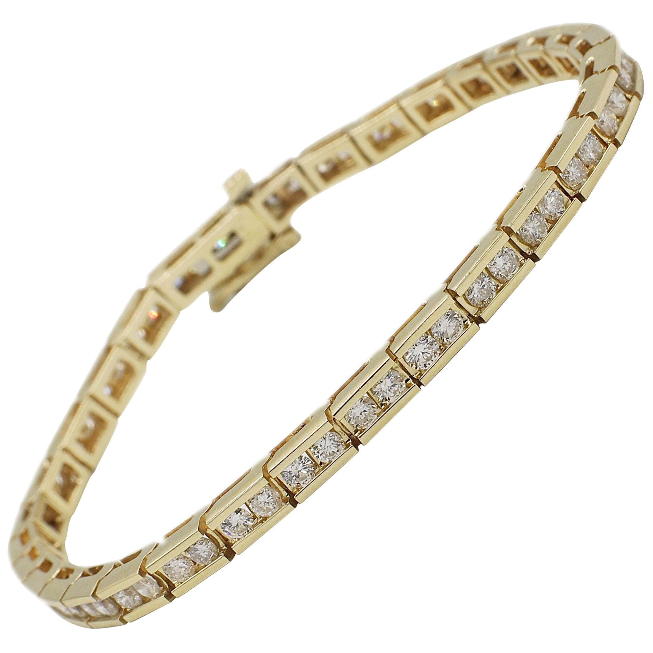 14 Karat Yellow Gold 3 Carat Diamond Tennis Bracelet