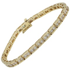 14 Karat Yellow Gold 3 Carat Diamond Tennis Bracelet