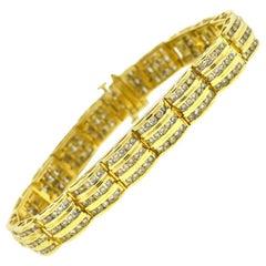 14 Karat Yellow Gold 3-Row Diamond Bracelet Approximate 3.00 Carat