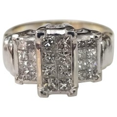 "14 Karat Yellow Gold ""3-Stone"" Style Ring with Princess Cut Diamonds"