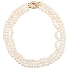 14 Karat Yellow Gold 3 Strand Cultured Akoya Pearl Necklace