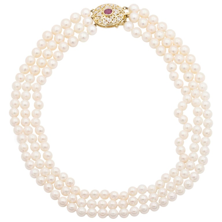 14 Karat Yellow Gold 3 Strand Cultured Akoya Pearl Necklace For Sale