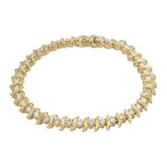 14 Karat Yellow Gold 3.00 Carat Diamond Tennis Bracelet