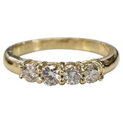14 Karat Yellow Gold 4 Diamond Ring Wedding Anniversary Ring .44 Pts