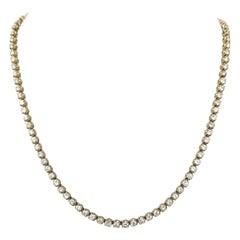 14 Karat Yellow Gold 4 Prong Diamond Necklace 11.41 Carat