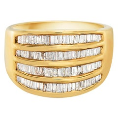 14 Karat Yellow Gold 4-Row Channel Set Semi Eternity Band Diamond Ring