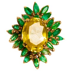 14 Karat Yellow Gold 4.23 Carat Yellow Sapphire and Emerald Ring