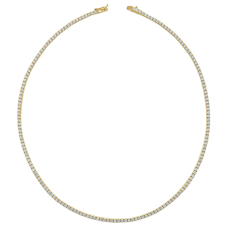 14 Karat Yellow Gold 4.50 Carat Diamond Tennis Necklace
