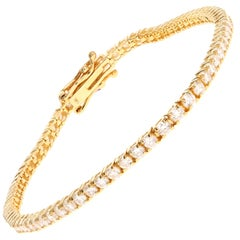 14 Karat Yellow Gold 5.93 Carat Round Brilliant Cut Diamond Tennis Bracelet