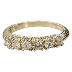 14 Karat Yellow Gold 6 Diamond Ring Wedding Anniversary Ring .52 Pts