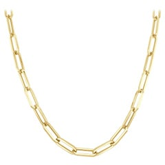 14 Karat Yellow Gold 6.70 Grams Link Paperclip Chain Necklace