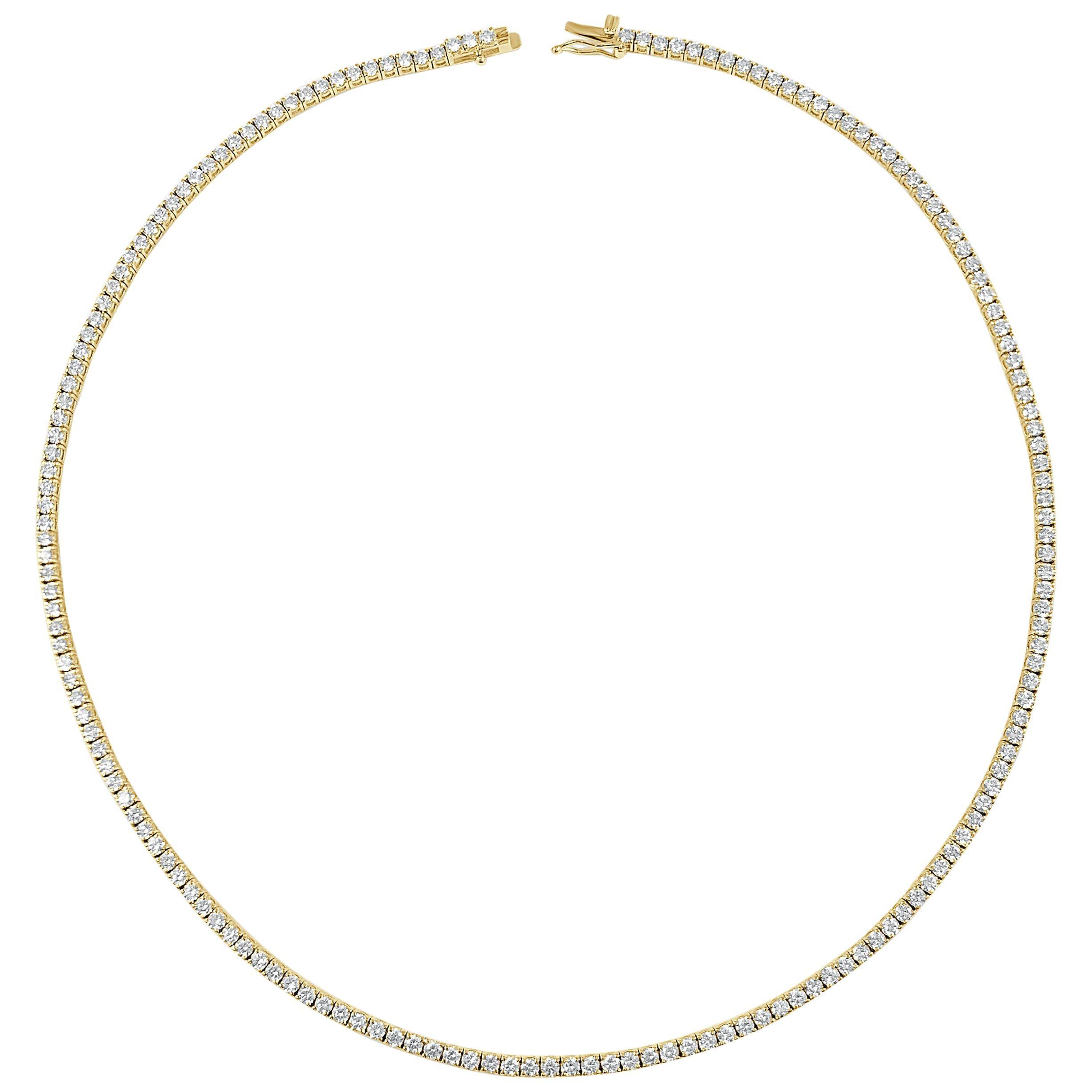 14 Karat Yellow Gold 7.76 Carat Diamond Tennis Necklace