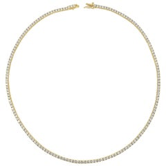 14 Karat Yellow Gold 7.76 Carat Diamond Tennis Necklace