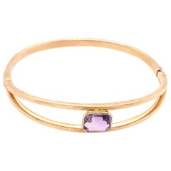 14 Karat Yellow Gold 7.8 Fancy Link Bangle with Square Amethyst Solitaire