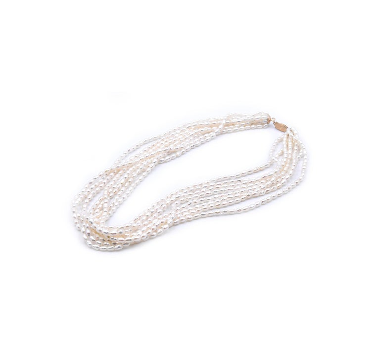 Designer: Custom Material: 14k yellow gold Pearls: 3.5-4mm diameter Dimensions: necklace measures 18-inches in length Weight: 61.3 grams