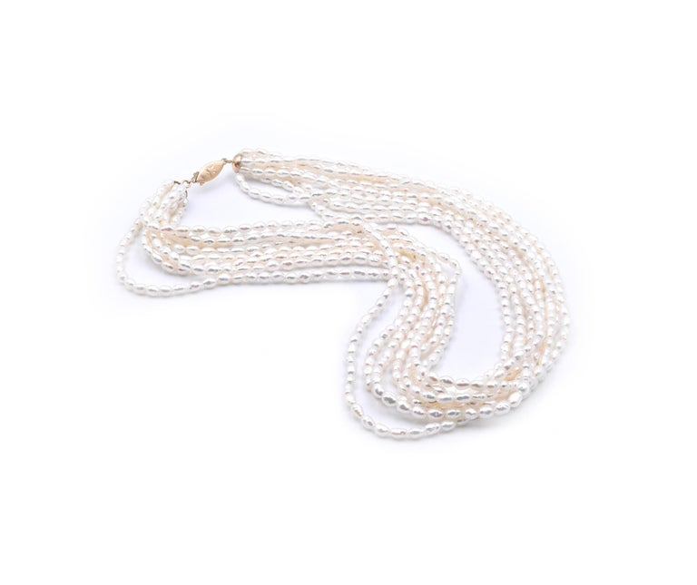 14 Karat Yellow Gold 8-Strand Pearl Strand Necklace In Excellent Condition For Sale In Scottsdale, AZ